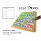2020 Diary, Japanese Floral, Vintage Flowers Postage Stamps, upcycled agenda
