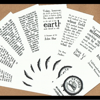 CLEARANCE - Set of 8 x bookish quotation bookmarks - a literary gift!