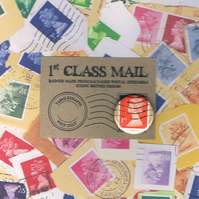 1ST CLASS MAIL Orange Machin - Upcycled vintage postage stamp badge