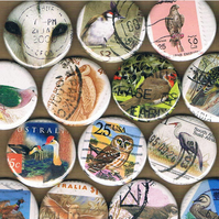 A DISSIMULATION of BIRDS Vol 1 - upcycled postage stamp badge, sale for charity