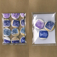 3 x BLUES & PURPLES - Upcycled vintage Machin postage stamp badge, mini notecard