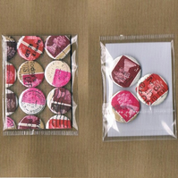 3 x REDS & PINKS - Upcycled vintage Machin postage stamp badge, mini notecard