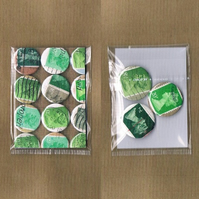 3 x GREENS - Upcycled vintage Machin postage stamp badge & mini notecard