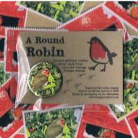 ROUND ROBIN BADGE 2 - festive upcycled postage stamp badge, sale for charity