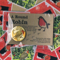 ROUND ROBIN BADGE 4 - festive upcycled postage stamp badge, sale for charity