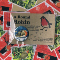 ROUND ROBIN BADGE 3 - festive upcycled postage stamp badge, sale for charity