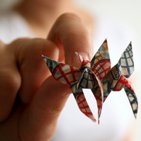 SALE Upcycled Fabric Origami Butterflies Brooch