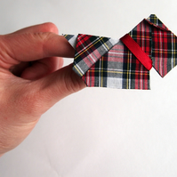 SALE White & Red Dress Stewart Tartan Terrier - Cotton Origami Dog Brooch