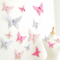 Origami Butterfly Wall Decor Nursery Wedding 15 Cotton Butterflies Made to Order