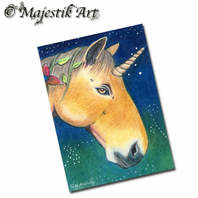 ACEO Print Fantasy Unicorn Animal ENCHANTED NIGHT