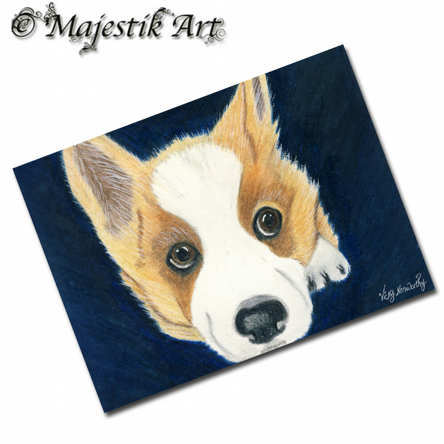 ACEO Print Corgi Puppy Dog Animal Pet BORED