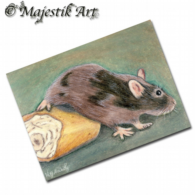 ACEO Print Mouse Rodent Animal Pet BREAD