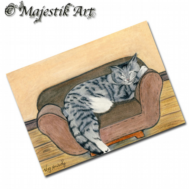 ACEO Print Sleeping Sofa Pet Feline Animal CAT NAP