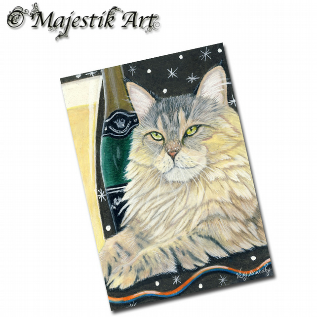 ACEO Print Cat Maine Coon Party Animal Pet CHEERS