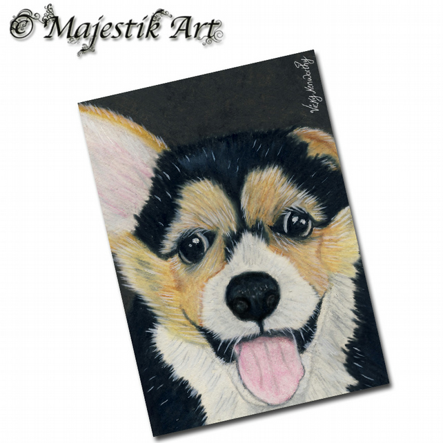ACEO Print Welsh Corgi Puppy Dog Animal HANDSOME CHAP