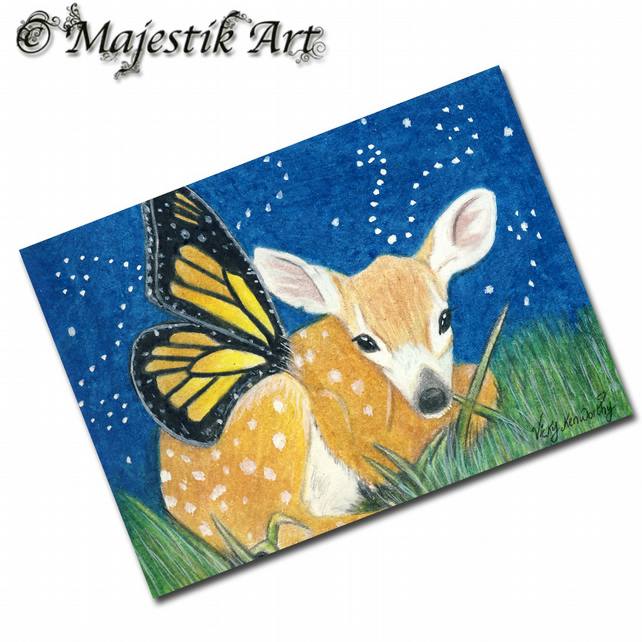 ACEO Print Deer Doe Fantasy Wildlife Animal FAIRY FAWN