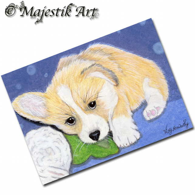 ACEO Print Welsh Corgi Puppy Pet Animal Dog MY TOYS