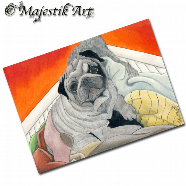 ACEO Print Pug WASHING DAY Dog Pet Animal