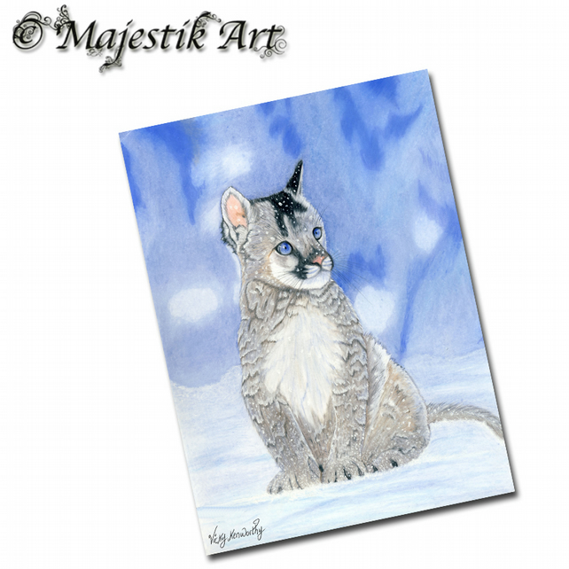 ACEO Print Mountain Lion SERENE Big Cat Animal