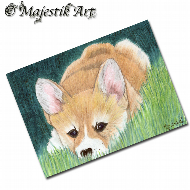 ACEO Print Corgi Puppy Dog Canine Animal Pet FIND ME