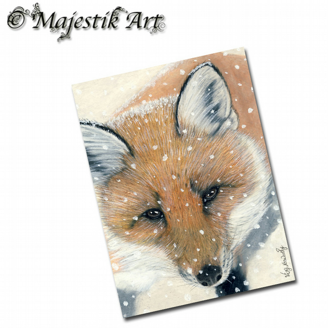 ACEO Print Fox Wildlife Cub Animal Canine NIPPY