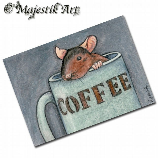 ACEO Print Rat Rodent Pet Animal ONE LUMP OR TWO?
