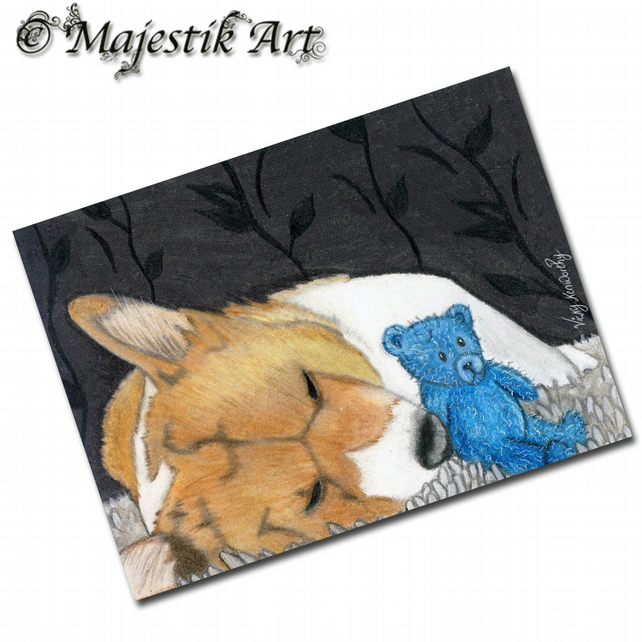 ACEO Print Welsh Corgi Animal Pet Dog Puppy SNUGGLES