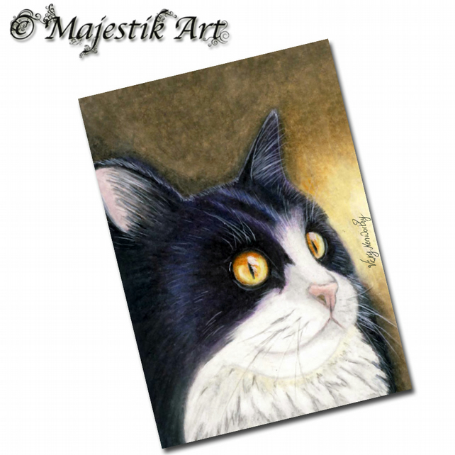 ACEO Print Tuxedo Cat Feline Animal Pet Kitty INTRIGUE