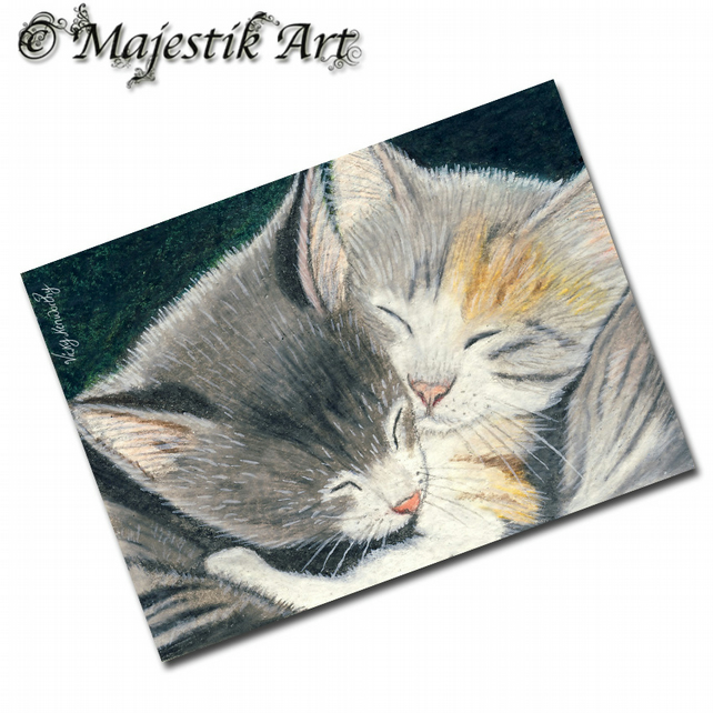 ACEO Print Kittens Pets Animals Feline BABY LOVE