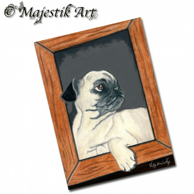 ACEO Print Pug Puppy Dog Pet Animal IVE BEEN FRAMED