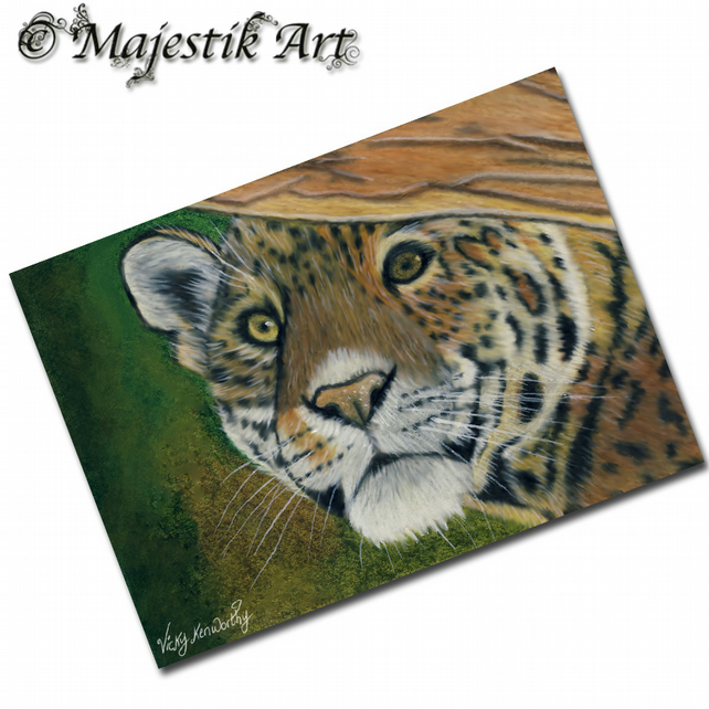 ACEO Print Big Cat Feline Wildlife Leopard LAY LOW