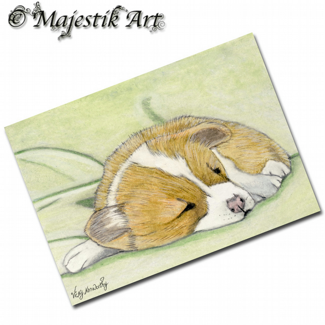 ACEO Print Welsh Corgi Puppy Dog Pet Animal LIE IN