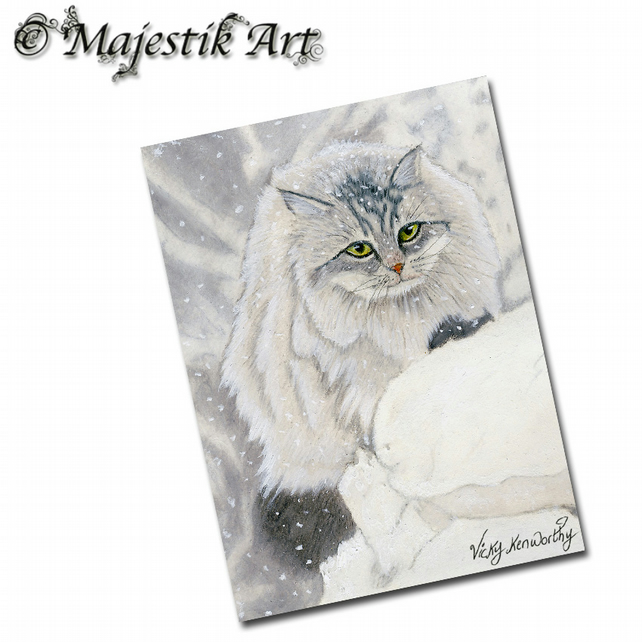 ACEO Print Maine Coon Cat Feline Animal Pet SNOW DAY
