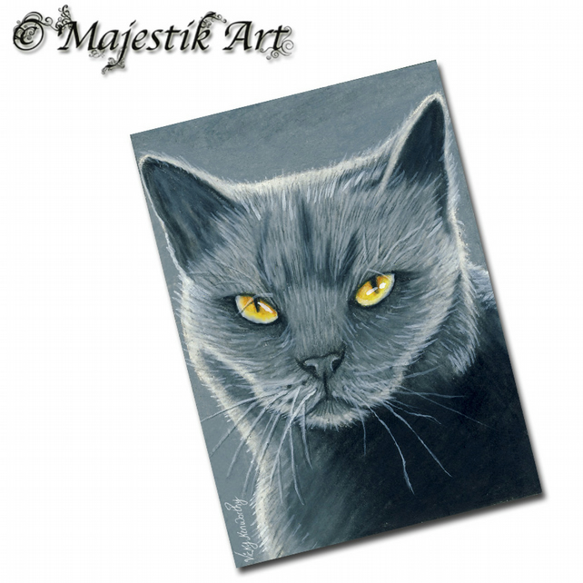 ACEO Print Cat SHADES OF GREY Feline Pet Animal