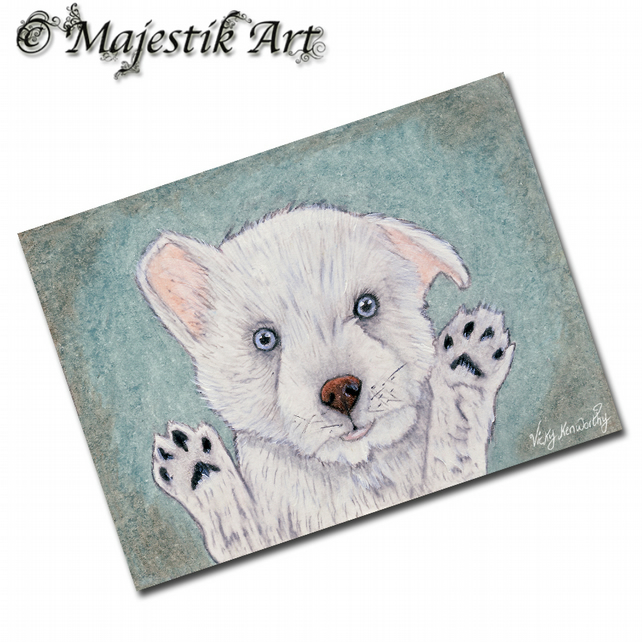 ACEO Print West Highland Terrier LET ME OUT Dog Animal Pet
