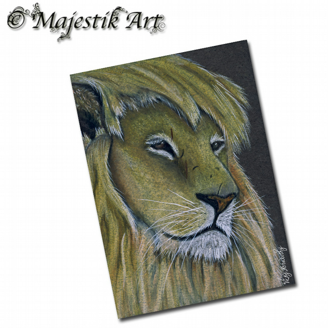 ACEO Print Lion Animal BAD HAIR DAY