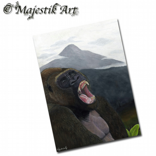 ACEO Print Mountain Gorilla FADING Wildlife Animal