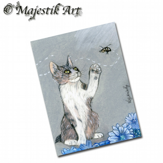 ACEO Print Cat Animal BEE STILL Kitten
