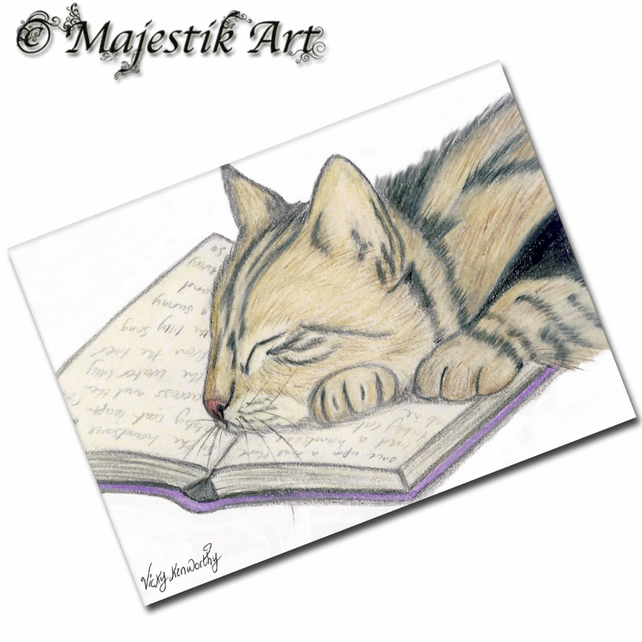 ACEO Print Tabby Cat LOVE TO READ Animal
