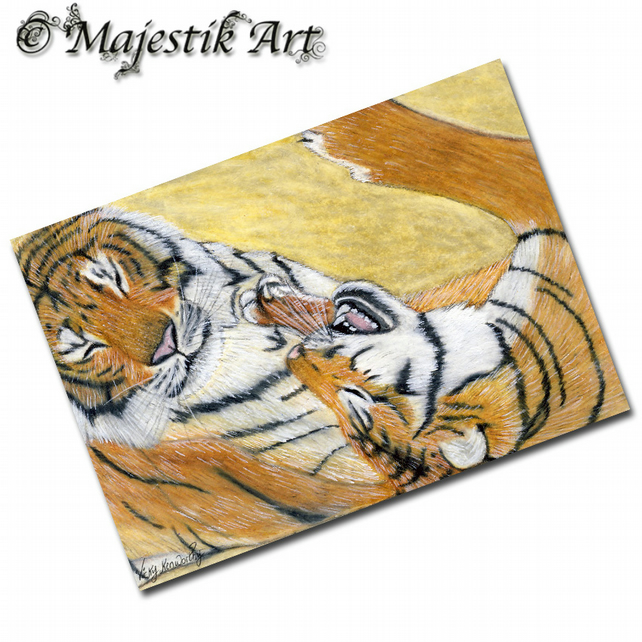 ACEO Print Tiger Big Cat Feline Wildlife PLAY TIME