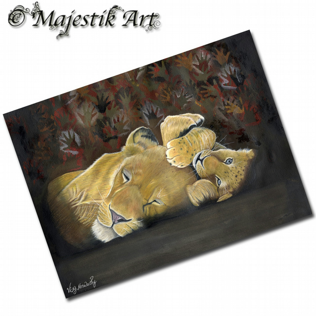 ACEO Print Lion IN THE SHADOW OF MAN Big Cat Animal