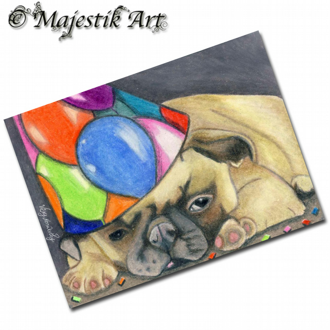 ACEO Print Pug Puppy Pet Animal Party Dog PARTIED OUT