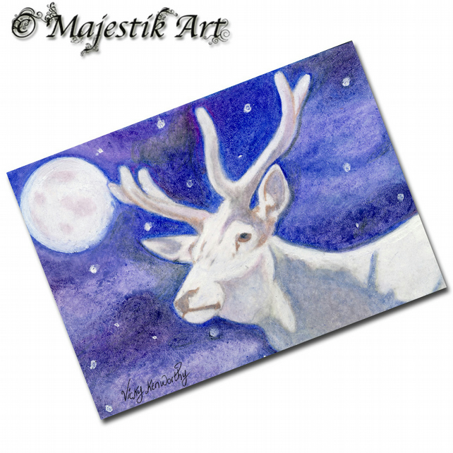 ACEO Print Fantasy White Deer Stag Animal Fawn PURE