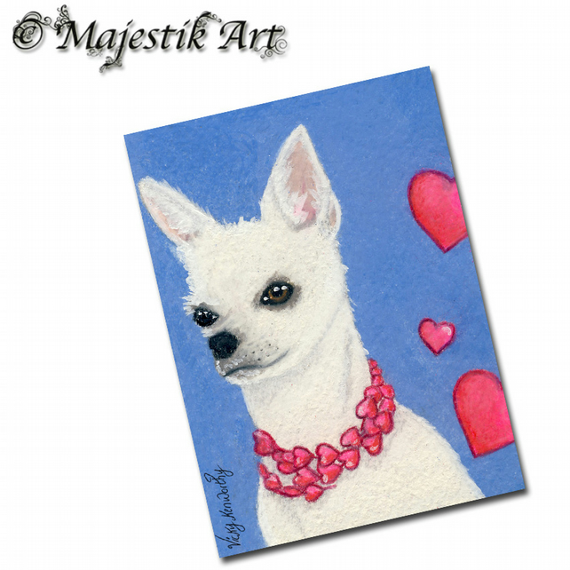 ACEO Print Chihuahua Puppy Heart Dog LOVE ME