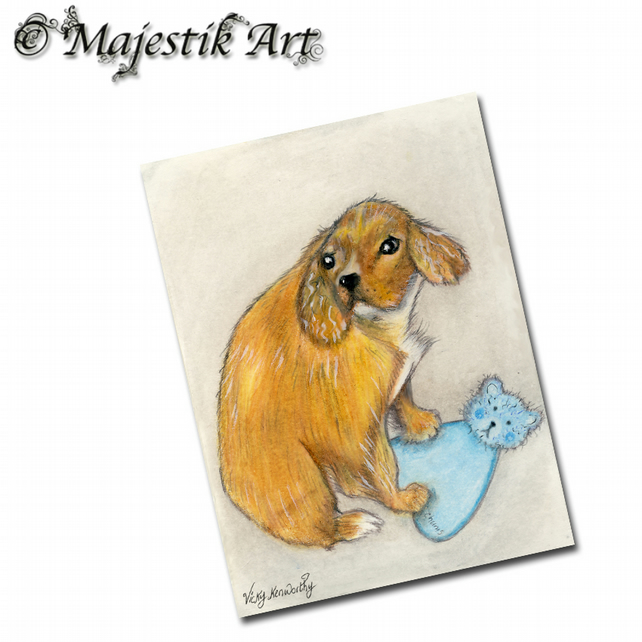 ACEO Print King Charles Cavalier Puppy Dog MY TEDDY