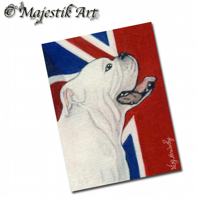ACEO Print Bull Dog Animal Union Jack British UNION