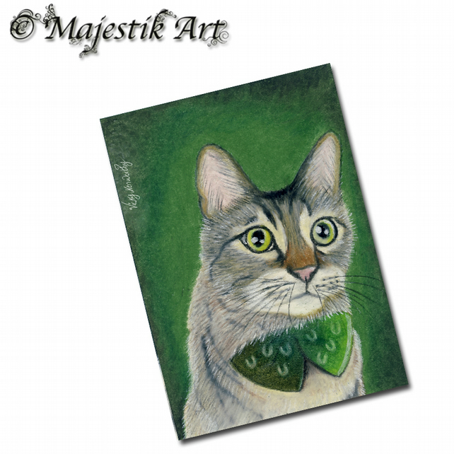 ACEO Print Irish Tabby Cat Pet Animal Feline LUCKY