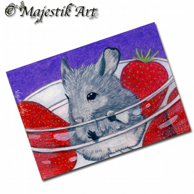ACEO Print Chinchilla STRAWBERRY Pet Animal