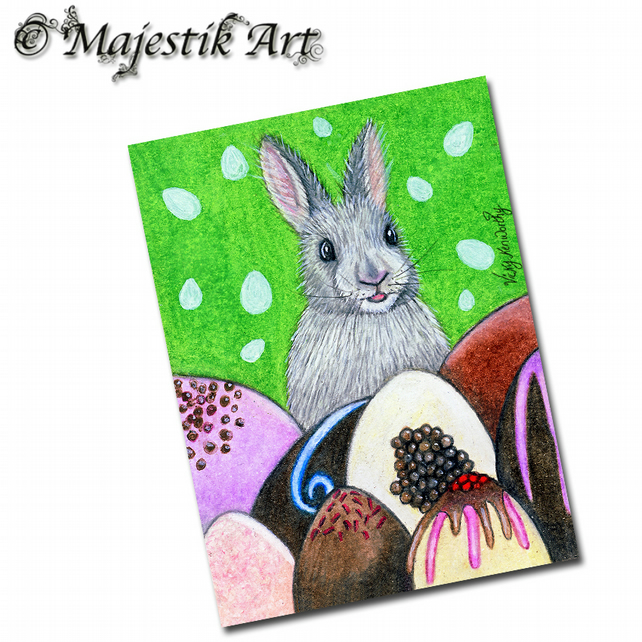 ACEO Print Bunny EGGSTRAVAGANT Rabbit Animal