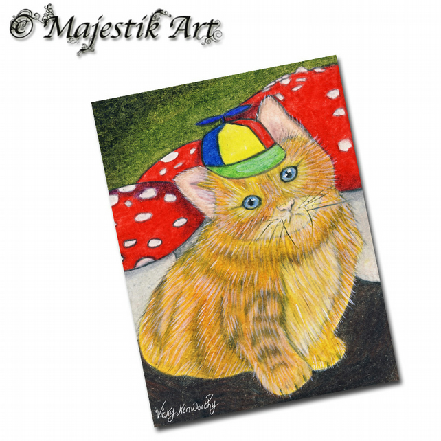 ACEO Print Ginger Kitten TWEEDLE DEE Wonderland Animal